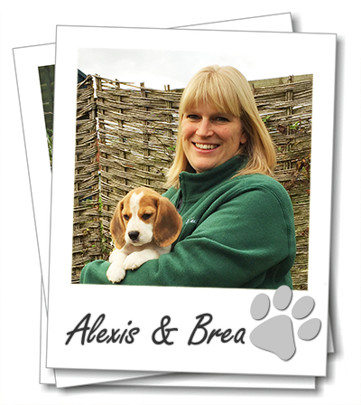 Cheltenham dog boarding. Wagging Tails franchisee Alexis Bennett with her puppy Brea