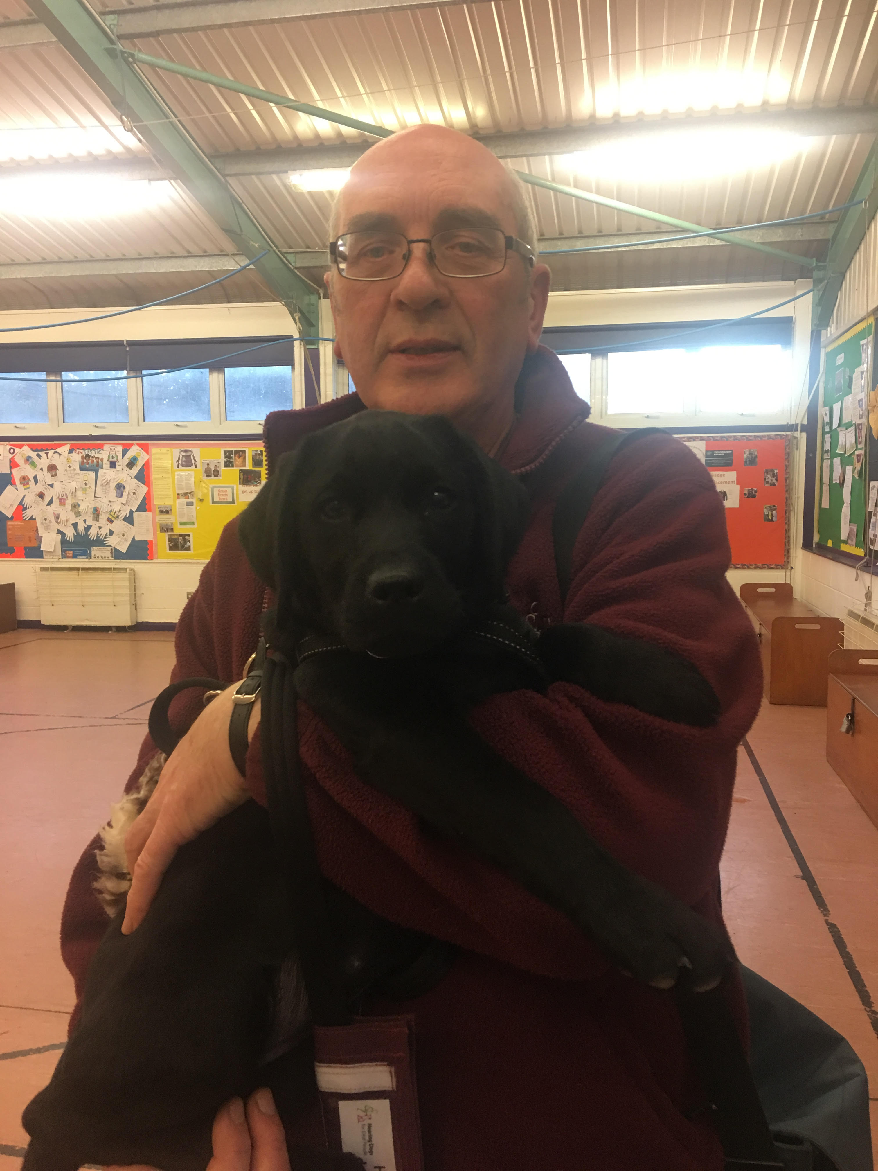Hearing Dogs for the Deaf puppy socialiser Doug with Wagging Tails pup Neve