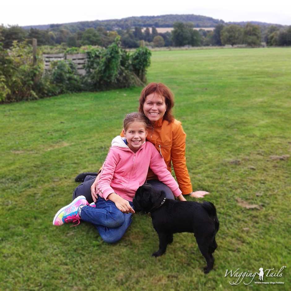 Buckinghamshire Dog Carer Irina and her daughter enjoying the company of guest Luca