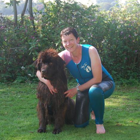 Swindon dog boarding. Hilary Coates with Bea post rescue