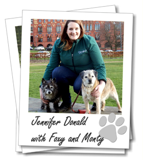Wagging Tails Glasgow franchisee Jennifer Donald with her dogs Monty and Foxy
