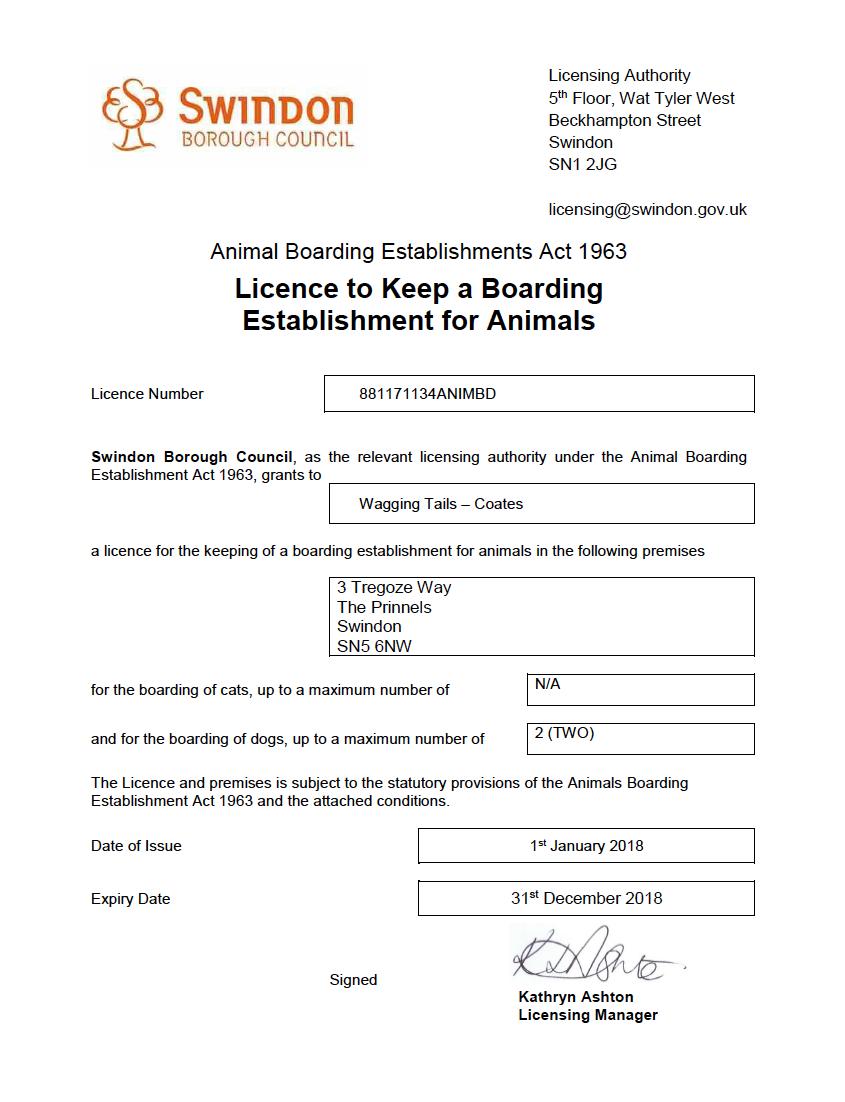 Swindon Borough Council Home dog boarding license