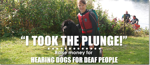 Top junior fundraiser pictured with a Newfoundland at South Cerney lake 2015
