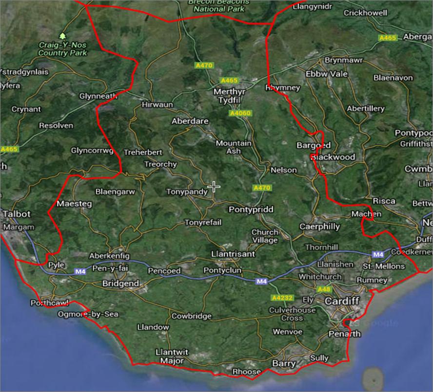 CF postcode map