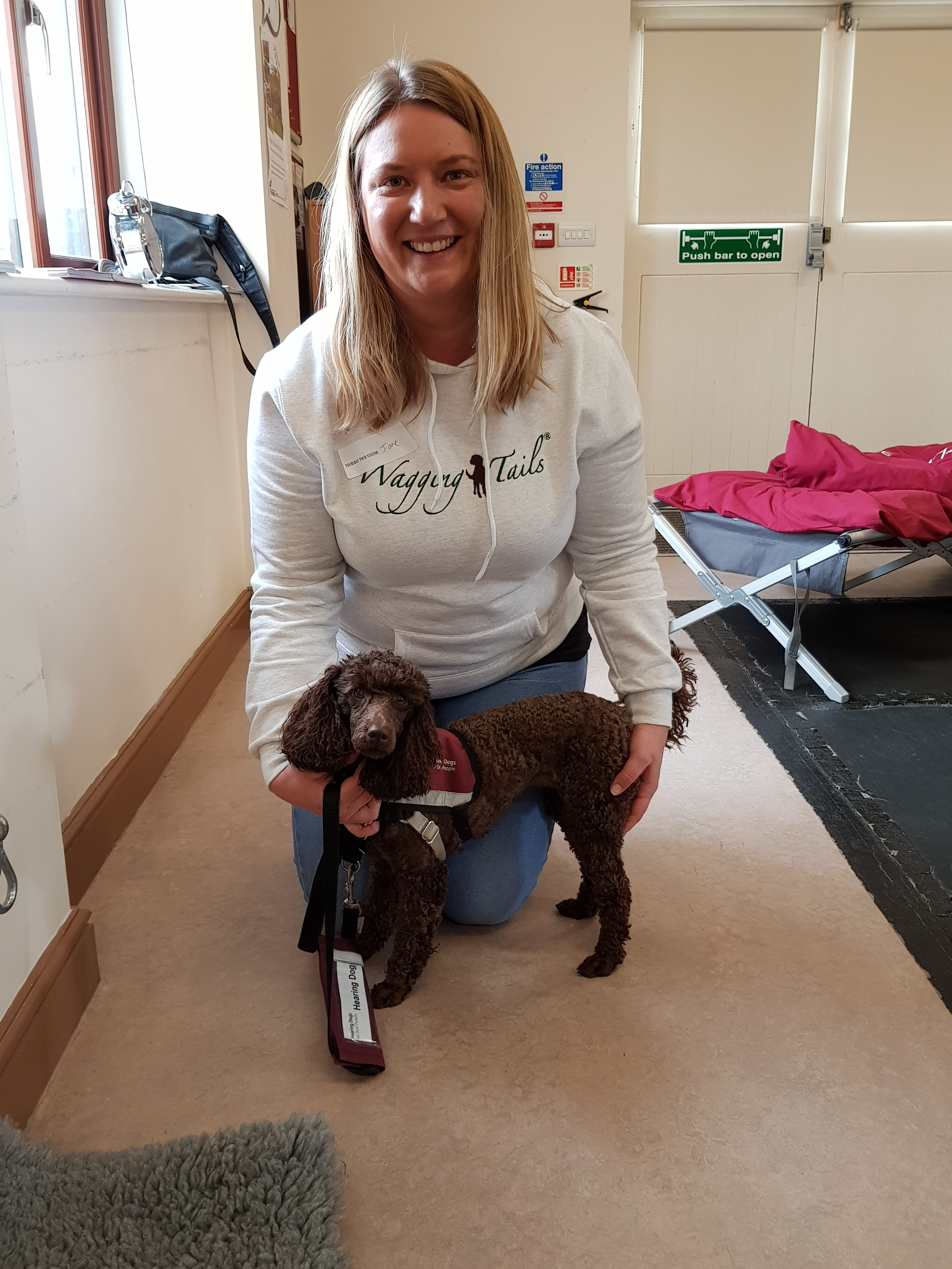 Jane Bamford from Wagging Tails York during her visit to Hearing Dogs for Deaf People