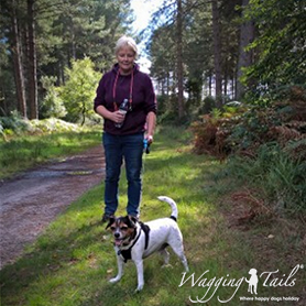 Marion enjoying the company of guest dog Max out on a walk