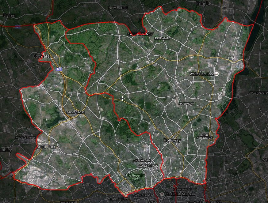 North London dog boarding postcode map