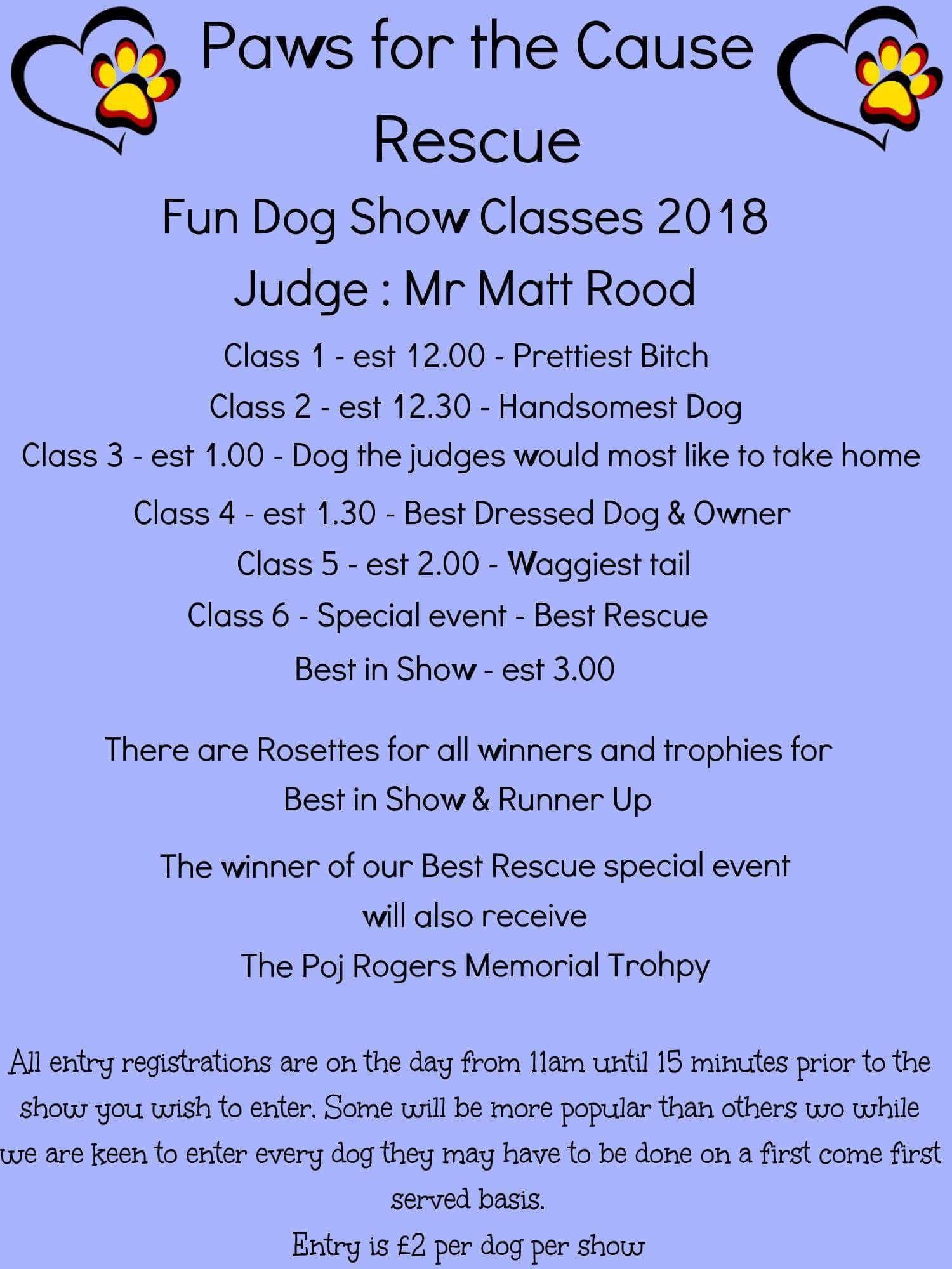 Paws for the Cause 2018 Dog Show Schedule