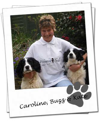 Wagging Tails franchisee Caroline Harrison with her dogs Buzz & Kate