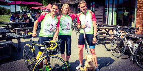 Jim Suswain with Hearing Dogs for Deaf People having completed the 100 mile sportive