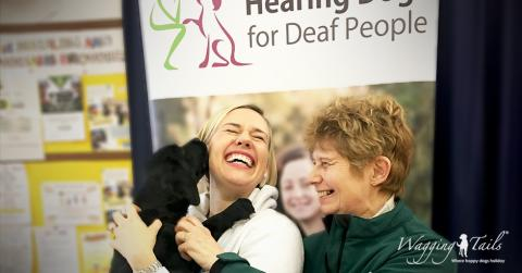 Lisa Suswain and Caroline Harrison from Wagging Tails meet Hearing Dog puppy Neve