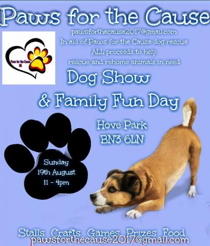 Paws For The Cause Dog Show Sun 19th August 2018 Hove Park Brighton
